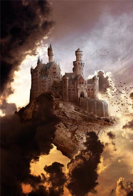 "Reminds me of ""Harry Potter"" but different. A levitating castle is a great fantasy idea."