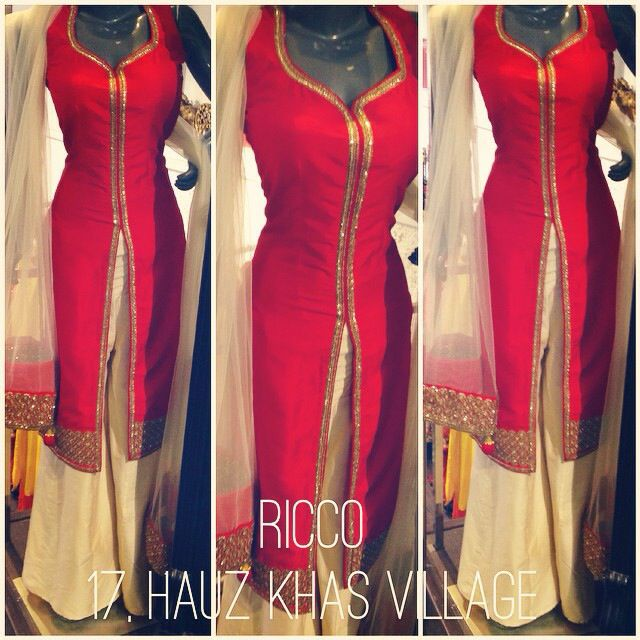 Red front open kurti with sequin work paired with cream sharara pants to give that perfect hourglass shape. Perfect for bridal trousseau. For order/details/customisation contact us on +918800511005 or www.facebook.com/riccoindia or ricco17hkv@gmail.com
