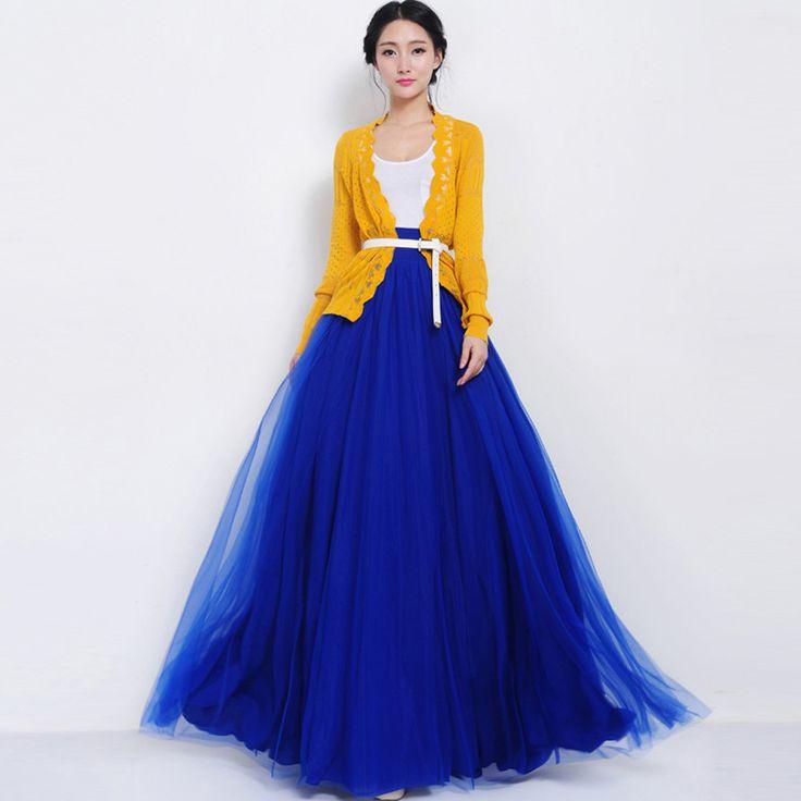 Summer Women Lady High Waist Chiffon Solid Color Full Skirt Long Maxi Skirt