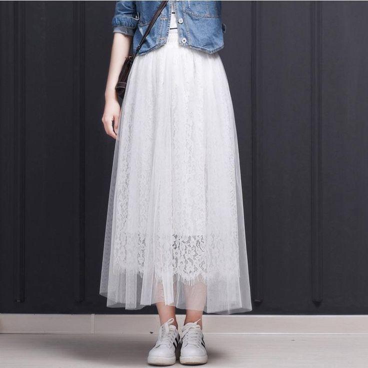 TingYiLi white and black tulle skirt with lace Korean women's skirt cute high waist elastic skirt long skirt  – fringues