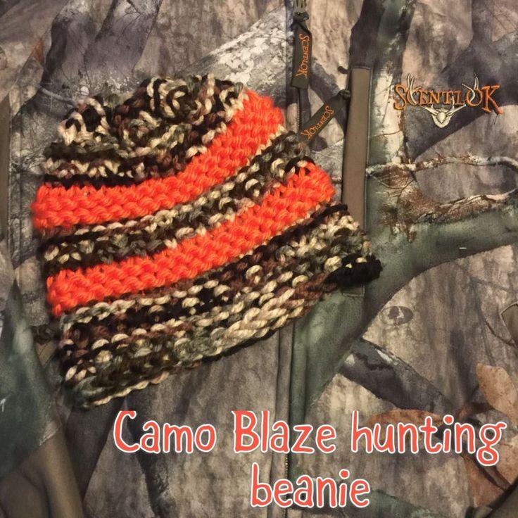 Women's CAMO & BLAZE ORANGE Hand Knit HUNTING FALL WINTER BEANIE HAT TOBOGGAN  | eBay