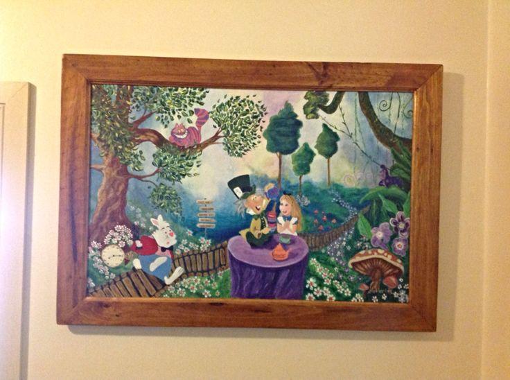Alice in wonderland acrylic on canvas.