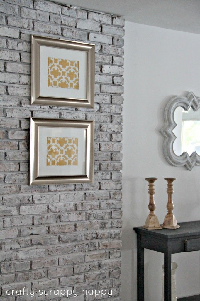 Brick Wall At Crafty Scrappy Happy Fireplace Makeover Pinterest Grey Palette Light Grey