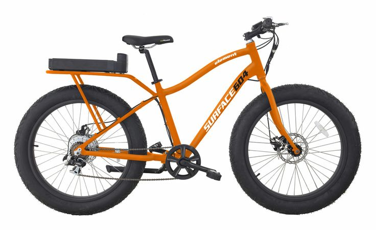 Element Wide Grip Electric Bike Matte Orange  Key Features :- Four-inch tires for traction on snow and sand Super-light aluminum-alloy 6061 custom-built frame for easier pedaling 350-watt (750-watt peak) brushless motor for faster and more-effortless pedaling 36-watt removable battery lasts up to 20 miles (32 kilometers) and helps reach a speed of 20 mph (32 km/h) Three power modes to match your need for assistance: low, medium, high Rack for carrying gear Matte orange color