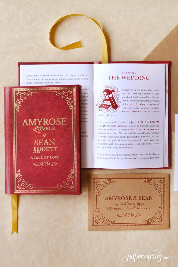 Once upon a time, someone received an invitation that swept them away into a romantic world filled with adventure! This beautiful invitation is perfect for couples who love literature of any kind. Fable is a hardcover storybook with 12 pages to tell of the bride and groom's love story, the proposal, and wedding day details. Featuring a foil-stamped cover, marble patterned end pages, illuminated capitals, and a library card style RSVP.