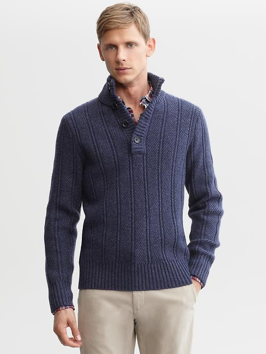 Extra-fine merino wool textured four-button pullover