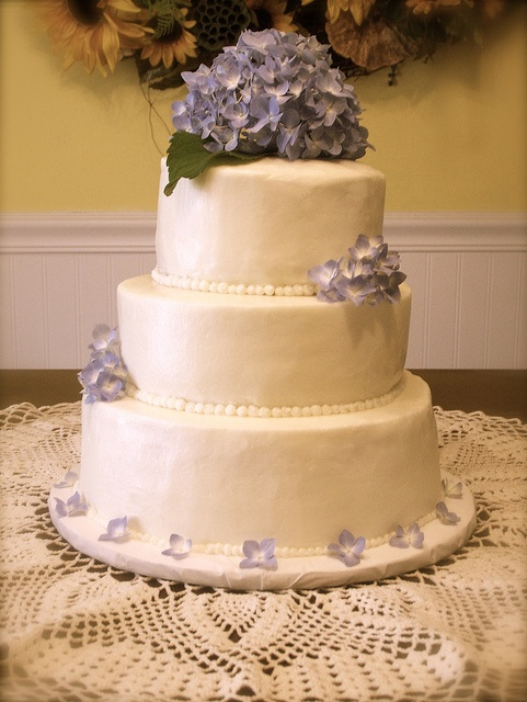 Hydrangea Wedding Cake - without the bottom flowers or the leaf. would be pretty with green/white