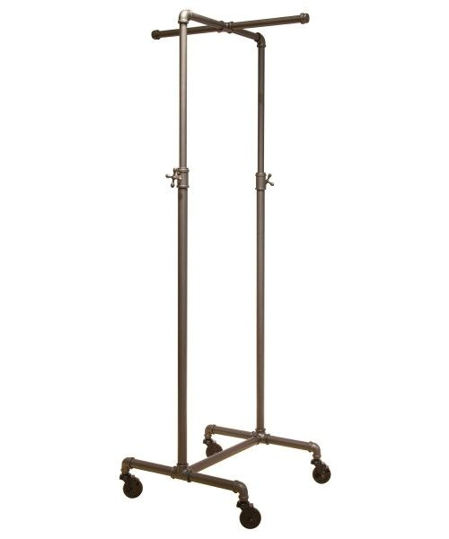 Coal Grey Single Rail Pipeline Collection Rolling Clothing Rack (w/ cross bar; small size) Love the size and shape, i think the pipe it too industrial feeling