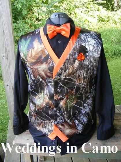 mens orange camo vest for wedding