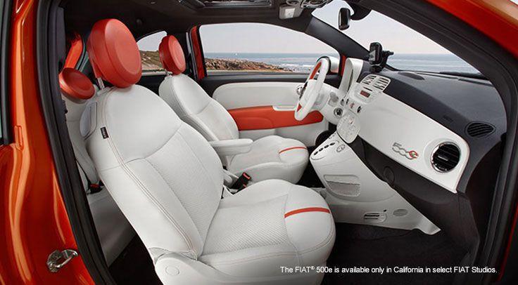 The FIAT® 500e with Blanco (white) interior and Arancio Elettrico (electric orange) accents. Search for #FIATS at http://carsquare.com/ #smallcar #eurocar