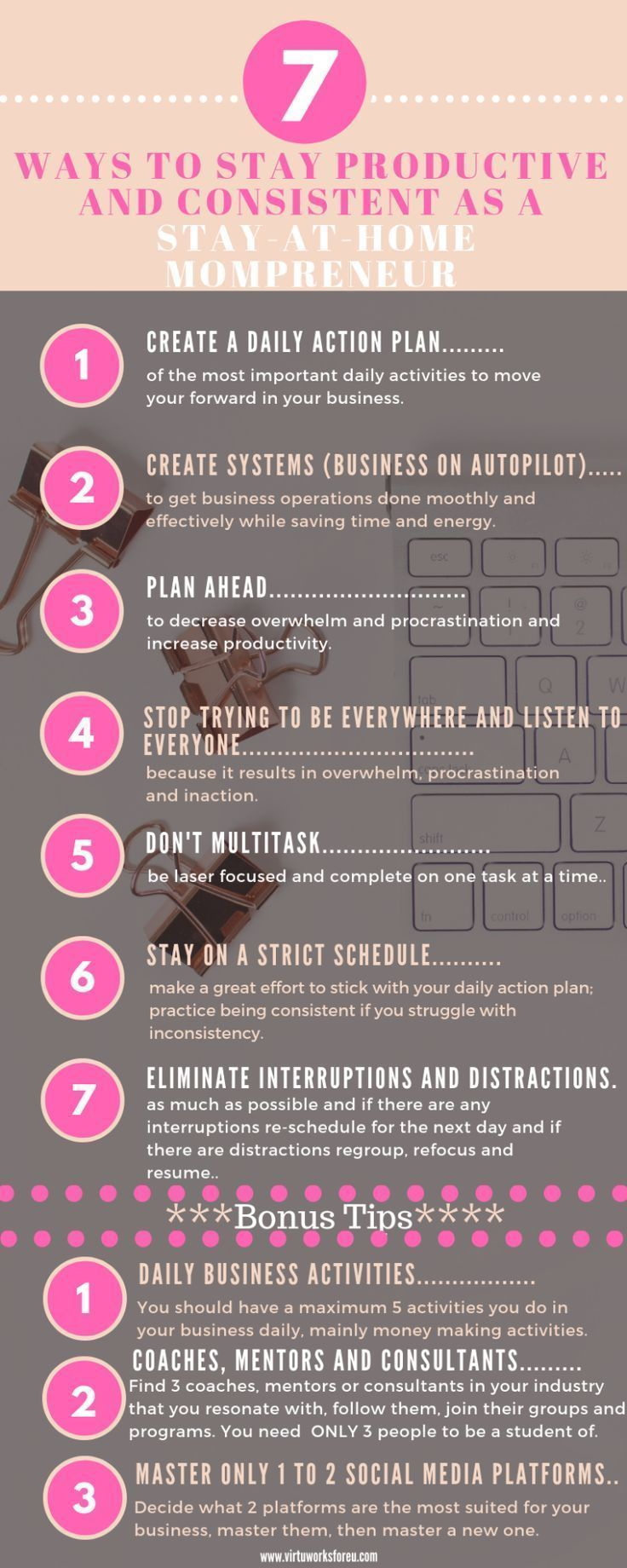 7 Ways To Stay Productive And Consistent As A Stay At Home Mompreneur Virtu Works Fore U Virtual Assistant Services Productivity Money Making Jobs Mompreneur