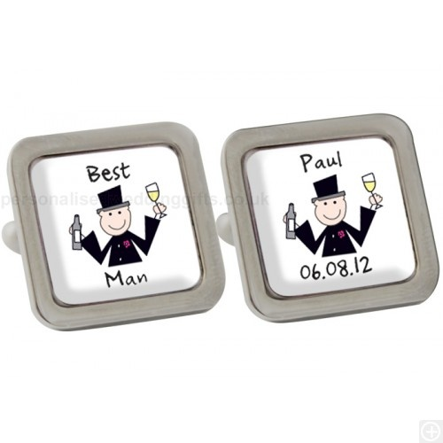 £19.95.These cute Personalised Cartoon Wedding Cufflinks with a silver finish base and resin dome, are a great little present for any male senior member of the wedding party.Our customers buy these fun cufflinks for the groom, the fathers of the bride and groom, page boys, the best man or the ushers.The square, personalised wedding cufflinks depict a cartoon man in full morning suit, thoroughly enjoying a glass of champers.On one cufflink, we'll print your man's role at the wedding and on…