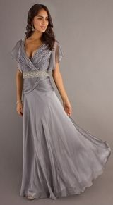 Silver Prom Dress Silver Cocktail Gowns Bridesmaid Mother of Bride