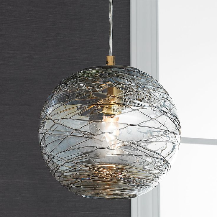 Swirling Glass Globe Mini Pendant Light clear_glass_and_metallic_bronze_with_antique_brass