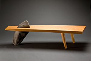 """""""Gibraltar Bench""""  Wood & Stone Bench  Created by Seth Rolland: Stones Benches, Seth Rolland, Benches Create, Design Seth, Gibraltar Benches, Wood Stones, Furniture Design, Wooden Furniture, Things Wood"""
