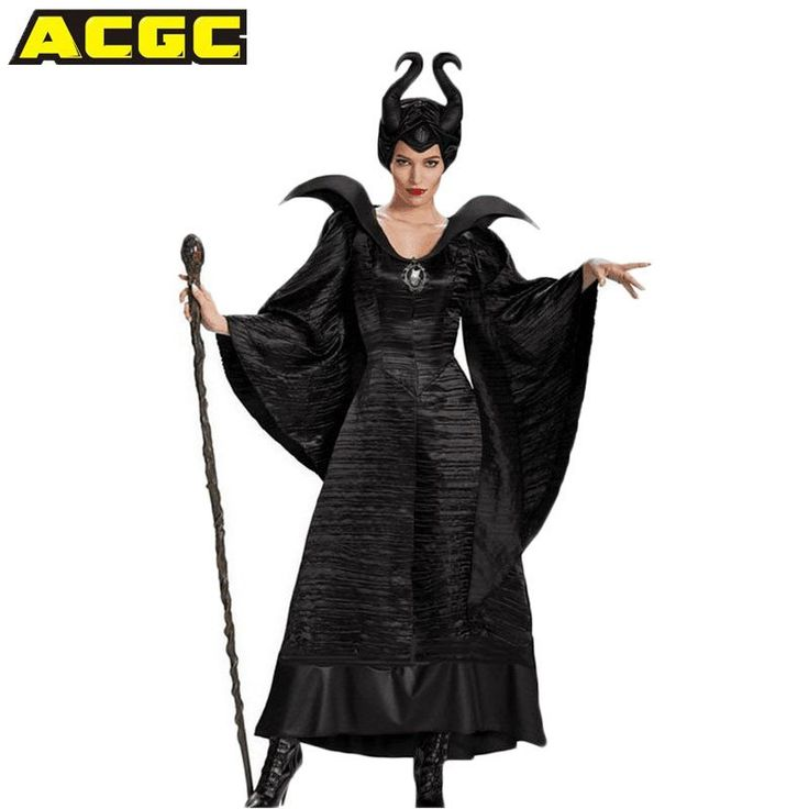 Maleficent Costume Women Jolie Cosplay Fancy Dress horns Halloween Costumes Elf Witch Party Carnival Cosplay Fantasias Adulto