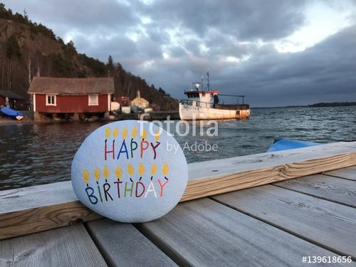 "Download the royalty-free photo ""Happy Birthday on a stone with swedish landscape"" created by Ciaobucarest at the lowest price on Fotolia.com. Browse our cheap image bank online to find the perfect stock photo for your marketing projects!"