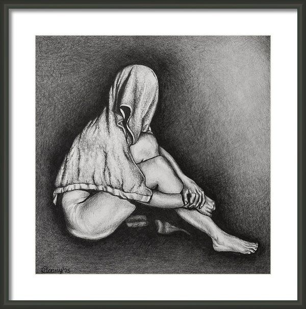 Hiding Framed Print By Courtney Kenny Porto #figure #drawing #human #form #towel #hidden #concealed #woman #feminism