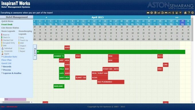 iHMS calendar view for hotel reservation.