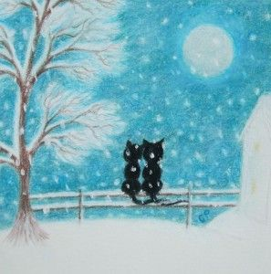 """""""Romantic Cats in Snow"""" by Claudine Peronne"""