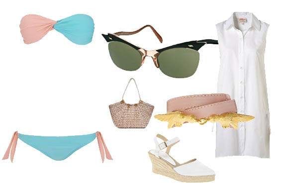 Los bikinis esta temporada tienes aires de los 50 y los 70, estupendos para combinar con las gafas eyecat de estilo vintage. Aquí tienes un look muy sencillo, cómodo y retro.Foto: bikini y bolso de Blanco, cu%C3%B1as, gafas y cinturón de Asos, camisa de Topshop.