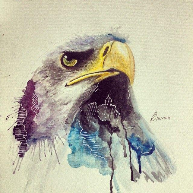 Eagle • Watercolor #watercolor #aquarela #art #arte #águia #eagle #lapisdecor…