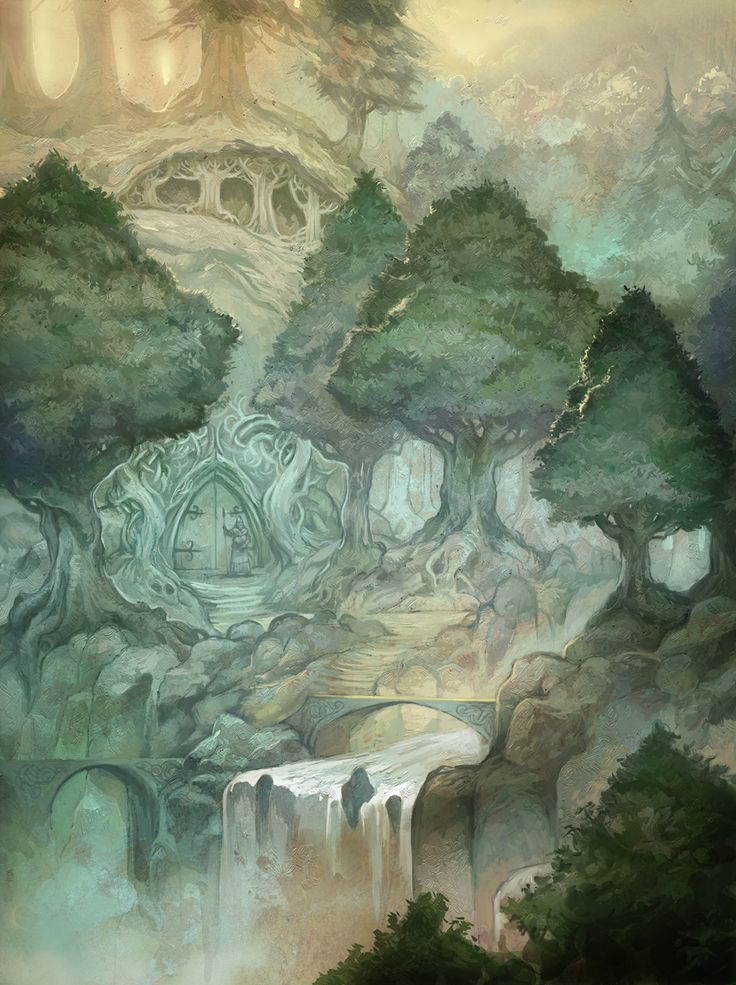 """An elf settlement for The One Ring from Cubicle 7 and Sophisticated Games.    """"Silvan Elves are not often seen outside of their woodland kingdom. In their attempt to preserve its beauty, they turned the forest's shadowy canopy and its green glades into a fortified sanctuary, where they struggle to hold the Shadow at bay."""