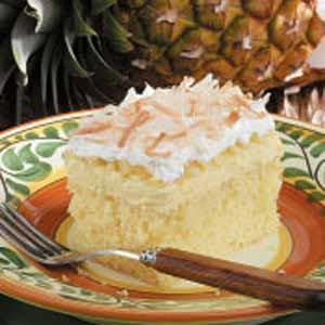 Hawaiian Wedding Cake... How can you go wrong with ingredients like yellow cake mix, cream cheese, instant pudding, crushed pineapple, whipped topping & coconut?!!