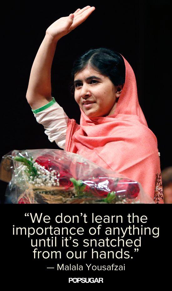 Inspiring words from 16-year-old Taliban survivor Malala Yousafzai