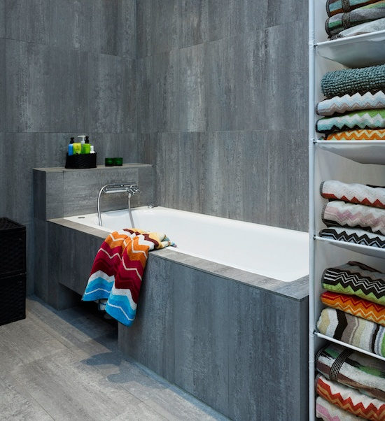 Inspiration from Bathrooms.com: Granite plus Missoni = minimalist heaven. Can't afford Missoni? There are lots of lovely lookalikes to snap up on the high street. #bath #bathroom #spa #wetroom