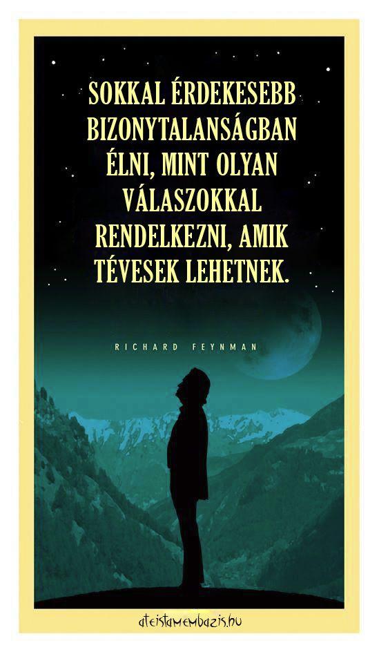 Richard Feynman idézete a tudásról. A kép forrása: Magyar Ateista Mémbázis