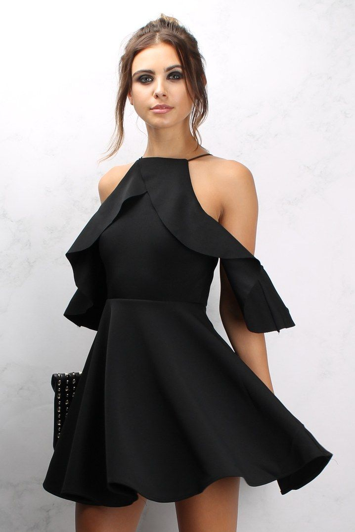 Black Cold Shoulder Frill Skater Dress