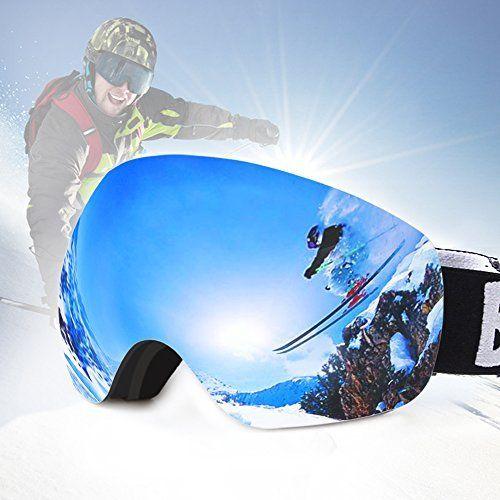Masque de Ski Femme et Homme Lunette Snowboard Lunettes CNASA Lentille Sphérique Italienne Anti-UV400, Anti-Buée, Système de Ventilation…