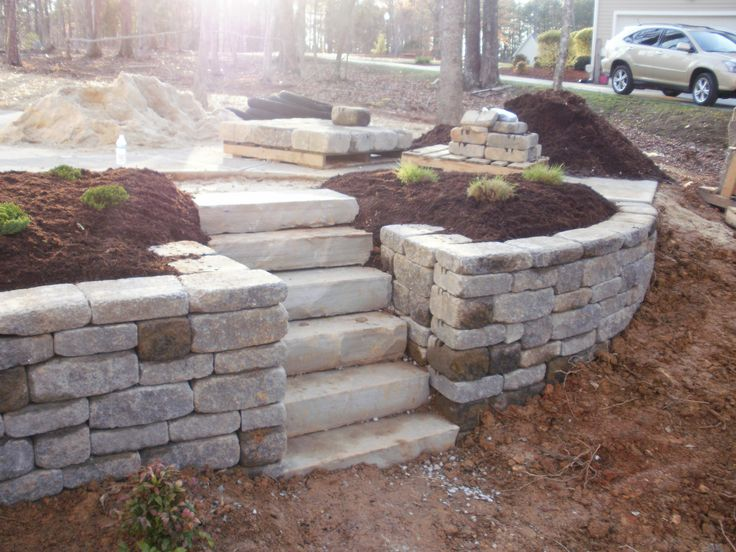 Retaining wall for sloped yard