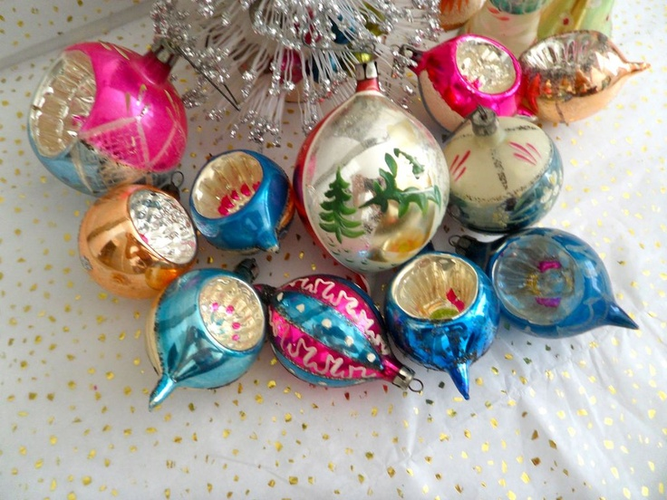 14 Vintage Christmas Ornaments Poland Indents & West Germany Bells from amysantiques on Ruby Lane
