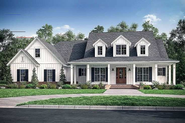 Southern Style House Plan 51974 With 4 Bed 4 Bath 3 Car Garage Country Farmhouse Style H Modernes Bauernhaus Aussen Bauernhaus Plane Bauernhaus Aussenbereich