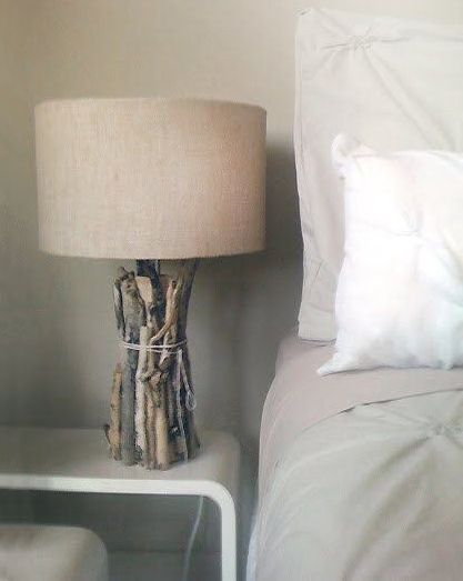 Cover old lamp with branches! Get new shade and blamo #natural #diylight #reuse