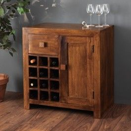 Contemporary Kompact Bar Cabinet Winerack Brown