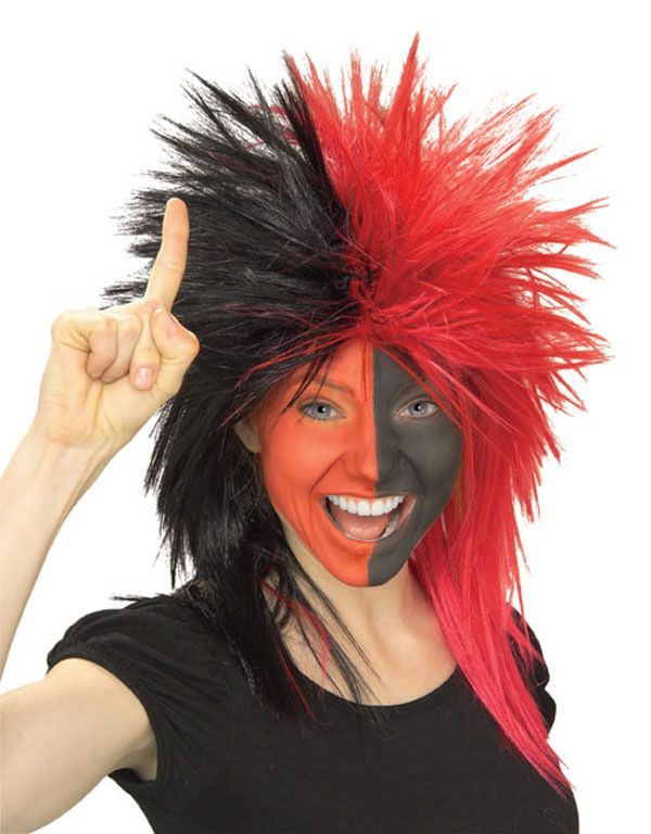 Sports Fanatic Wig in Black and Red