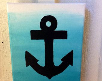Ähnliche Artikel wie Hand Painted Striped and Gold Glitter Anchor Canvas, Wall Art, Nautical, Decor auf Etsy
