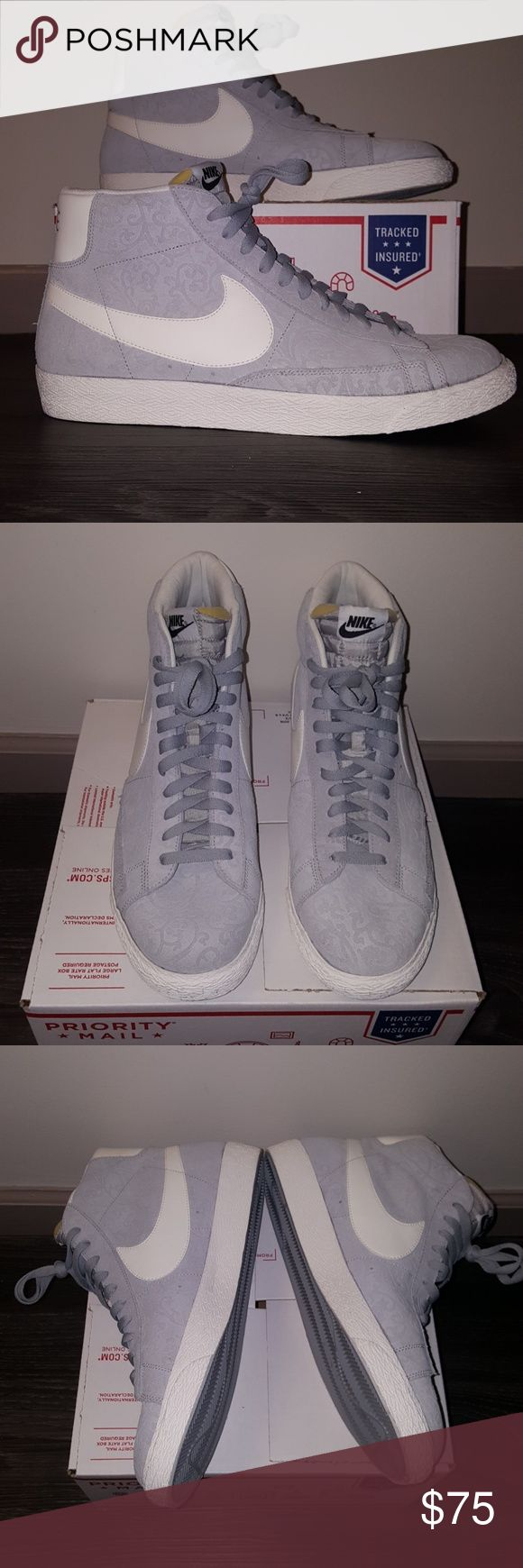Nike NIKE Blazer  Grey/ light Beige FRESH NEW! NEW! NEW! Vintage touch suede with paisley design.  Nike swoosh Nike Shoes Sneakers