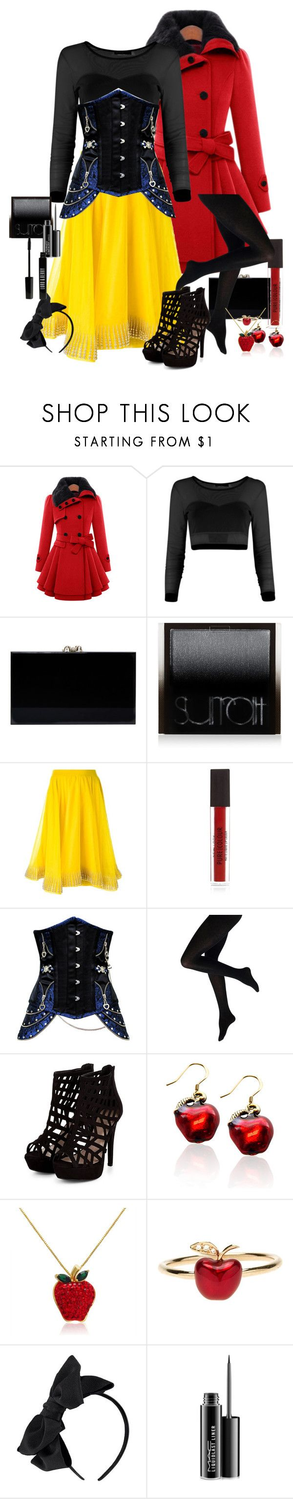 """The Dark Miss: Snow White"" by thehelsinghatter ❤ liked on Polyvore featuring Charlotte Olympia, Surratt, Manish Arora, Whimsical Watches, Amanda Rose Collection, Alison Lou, MAC Cosmetics, Lord & Berry, women's clothing and women"