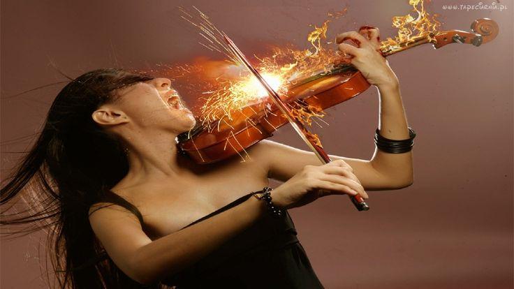 Kobieta, Skrzypce, Ogień