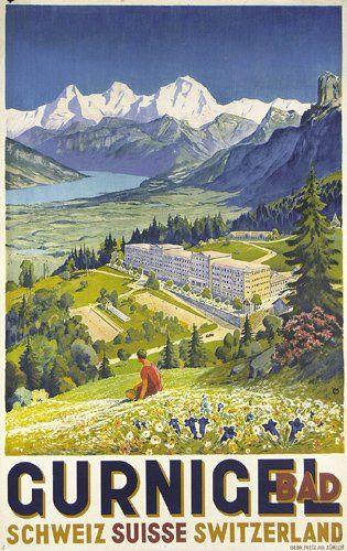 Moos, Carl Franz 1878 - 1959  Bad Gurnigel  Litographie ca. 1928