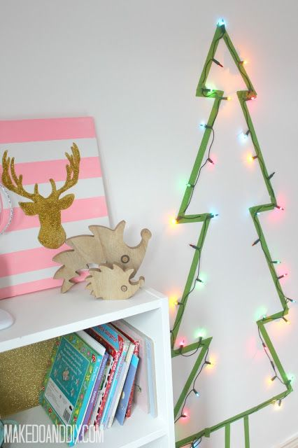 alternative christmas trees, great for when you don't have much space or just for jazzing up the rooms that normally get neglected at christmas www.makedoanddiy.com