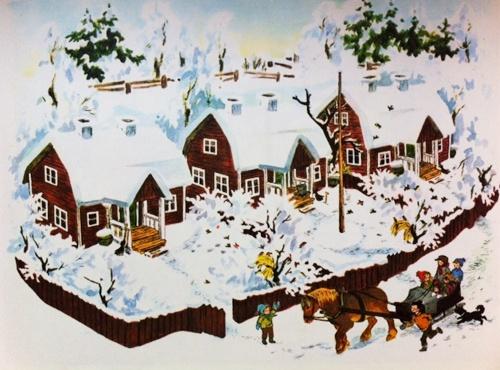 "Scene from Astrid Lindgren's book ""Weihnachten in Bullerbü"", illustrated By Ilon Wikland"