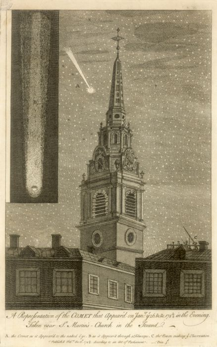 Comet passing the spire of St Martin in the Fields on 26 January 1744.