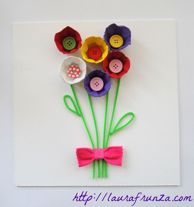 Egg carton flowers with buttons