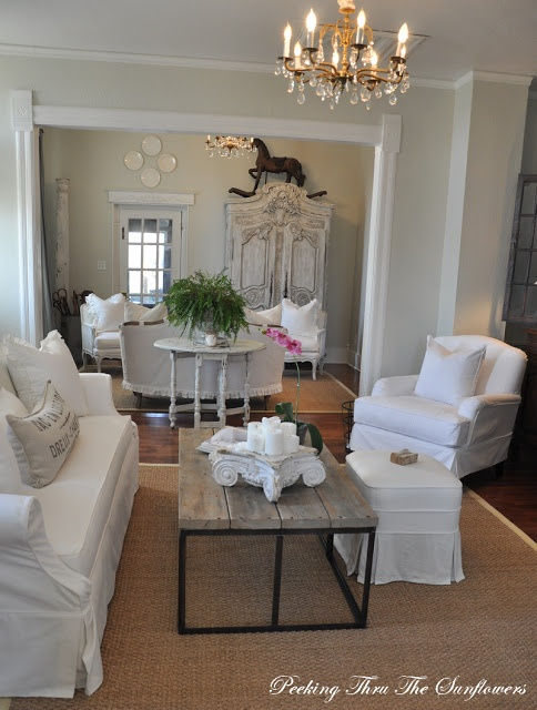 Living Room Whites & Neutral at Peeking thru The Sunflowers