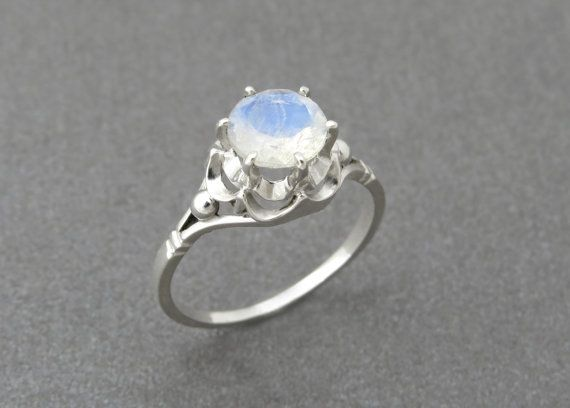Unique Vintage Antique Style Engagement Ring In 14k Solid Gold with Natural Moon Stone Gemstone.  ♥ This beautiful ring can become a perfect